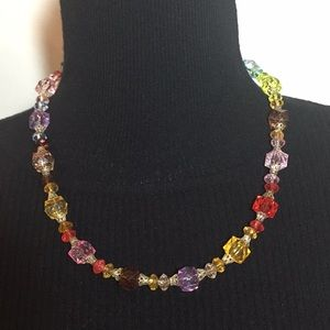Vintage Jewelry Faux Stone Crystal Beats  Necklace